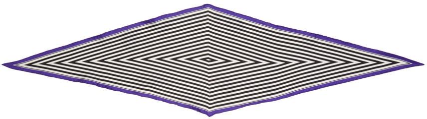 Haider Ackermann Black and White Striped Diamond Scarf