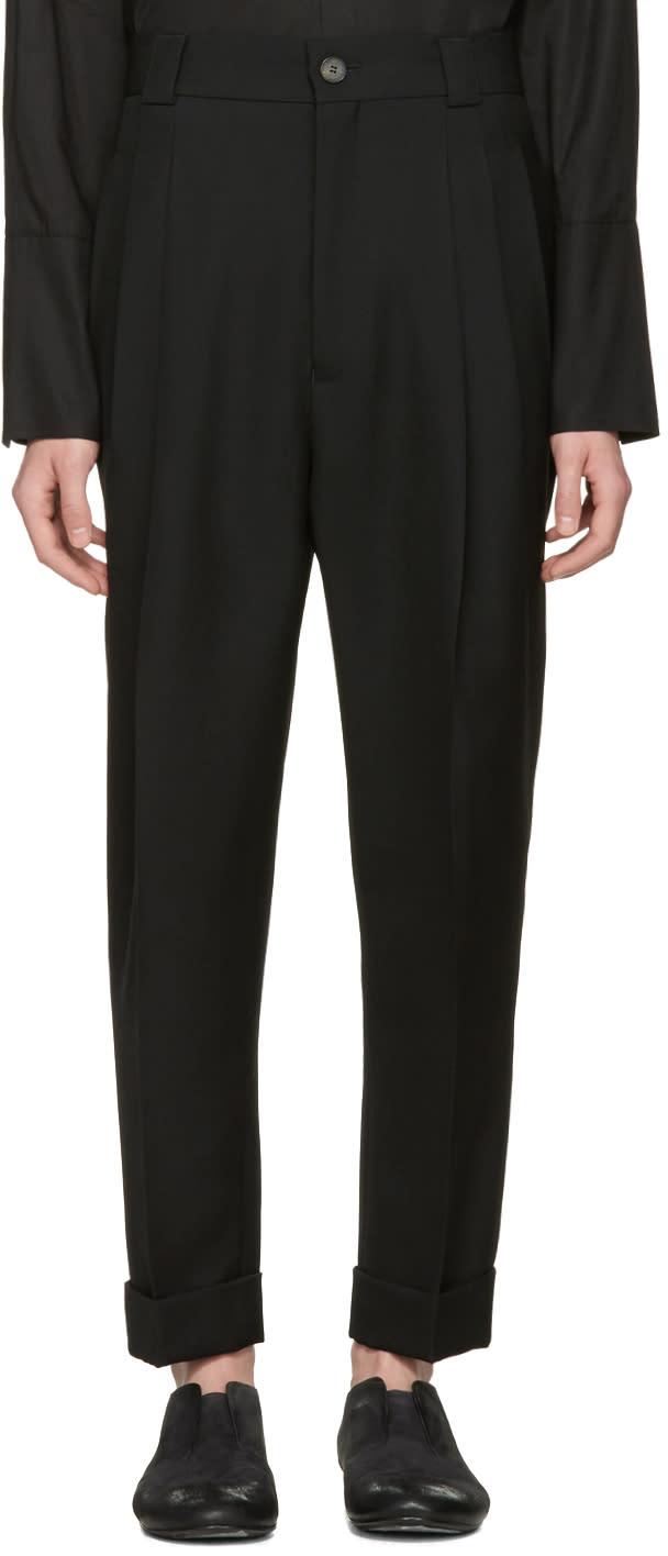 Haider Ackermann Black Wool Pleated Trousers