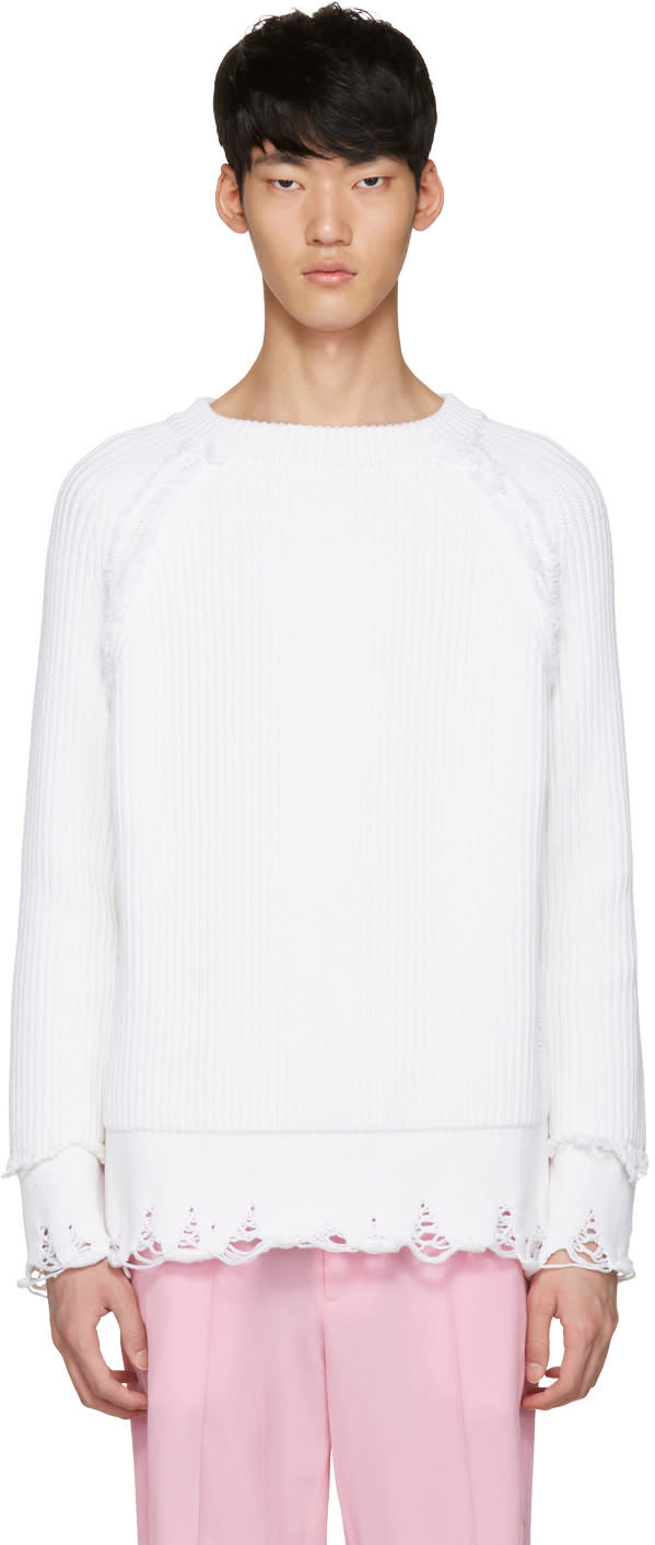 Haider Ackermann White Ribbed Sweater