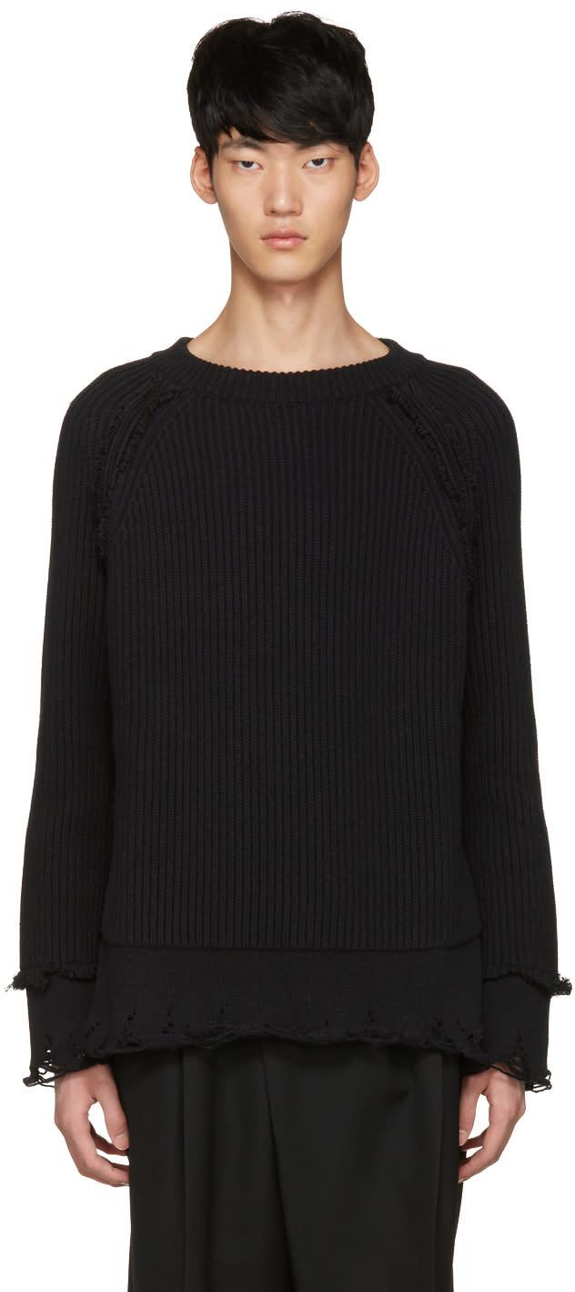 Haider Ackermann ブラック リブ セーター