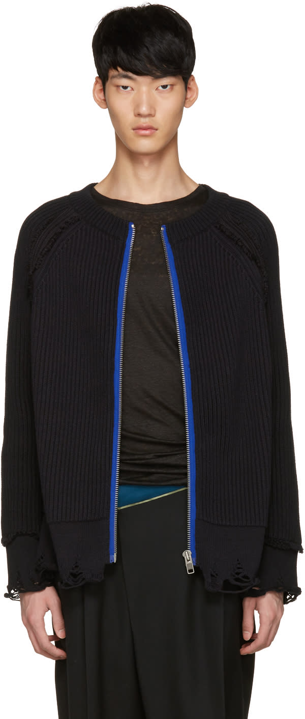 Haider Ackermann Black Ribbed Zip-up Sweater