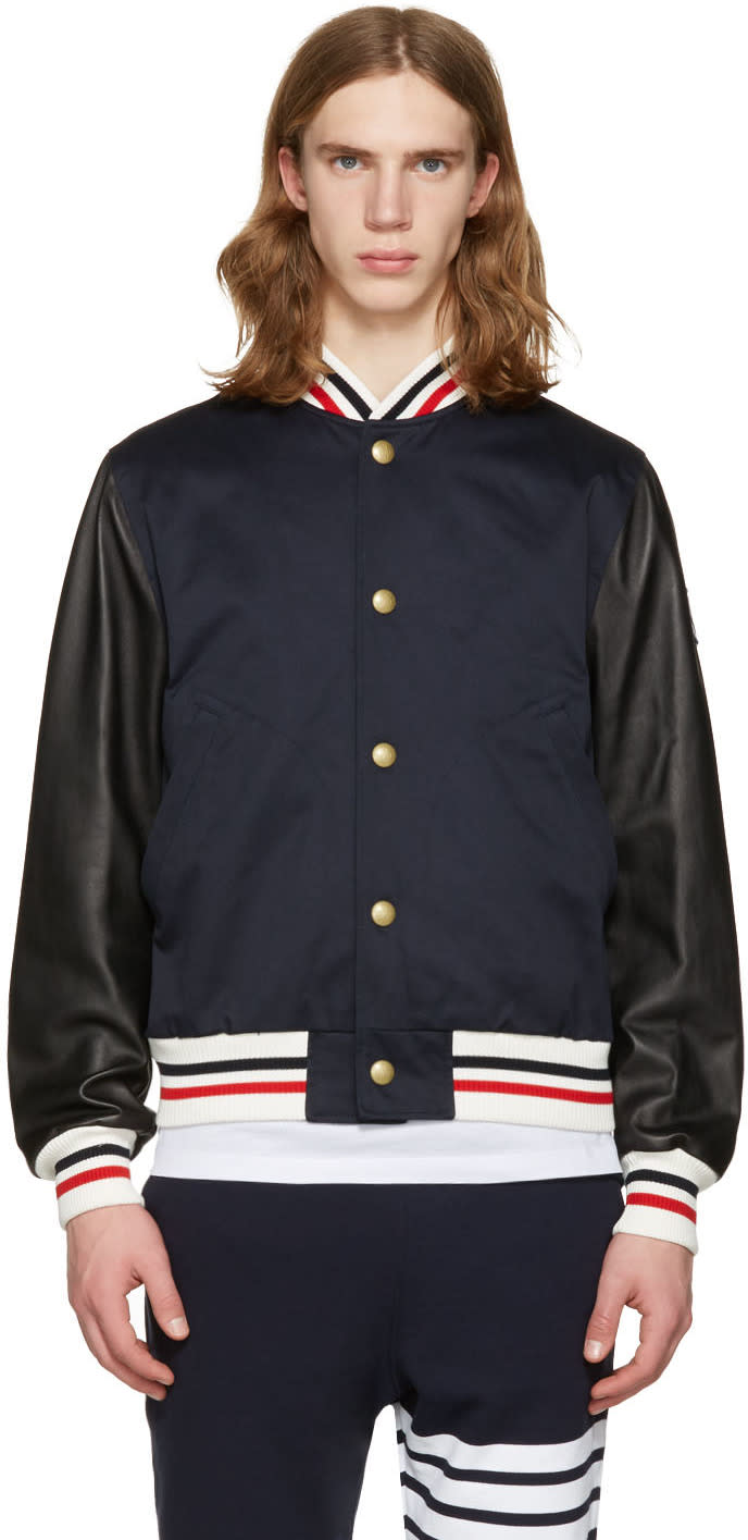 Moncler Gamme Bleu Navy Leather Sleeve Bomber Jacket