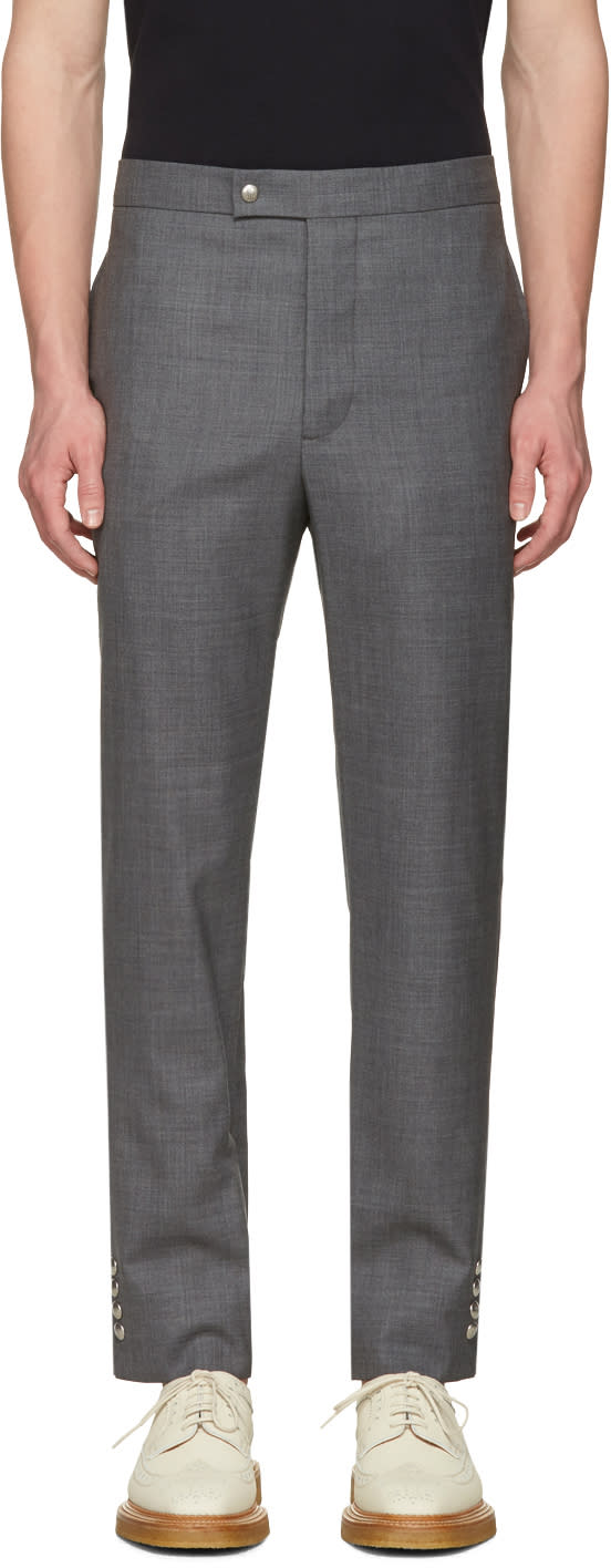 Image of Moncler Gamme Bleu Grey Button Cuff Trousers