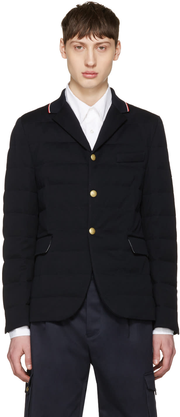 Image of Moncler Gamme Bleu Navy Down Quilted Blazer