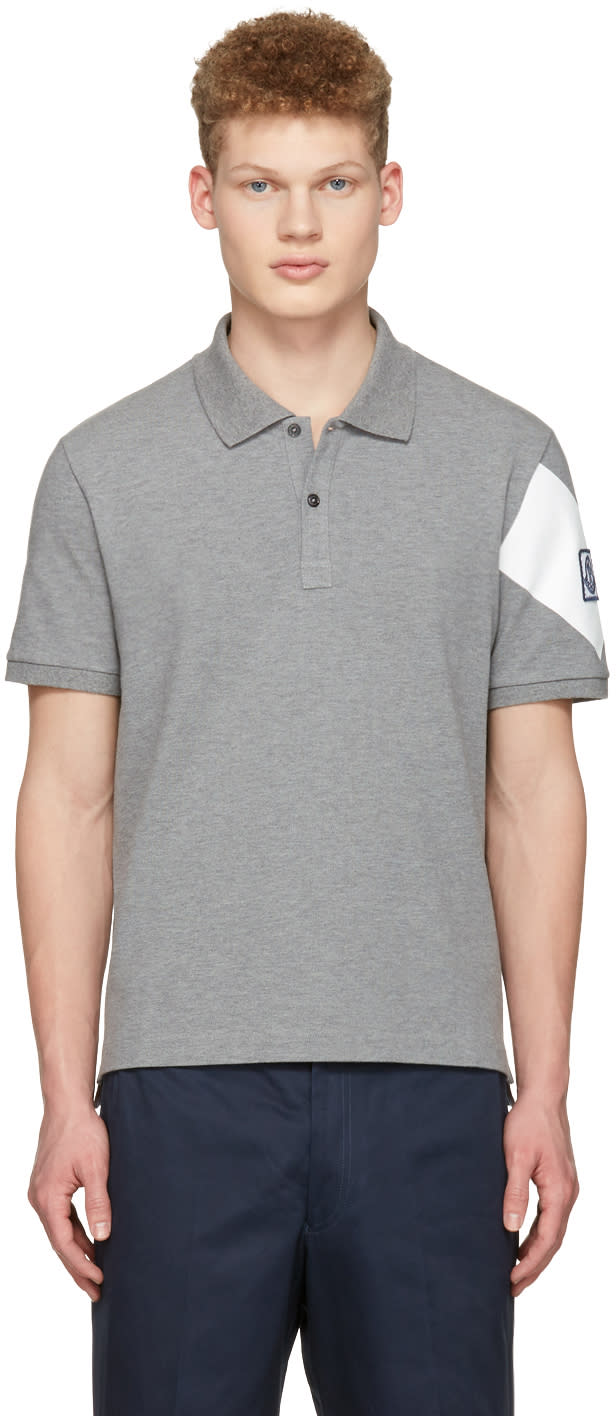 Moncler Gamme Bleu Grey Arm Patch Polo