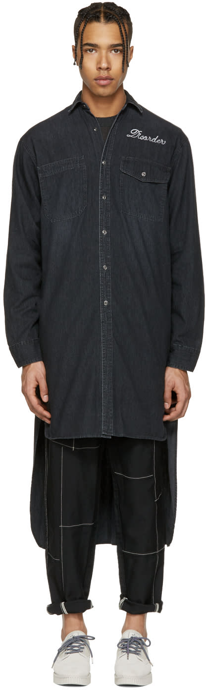 Miharayasuhiro Black Denim Extra Long Shirt
