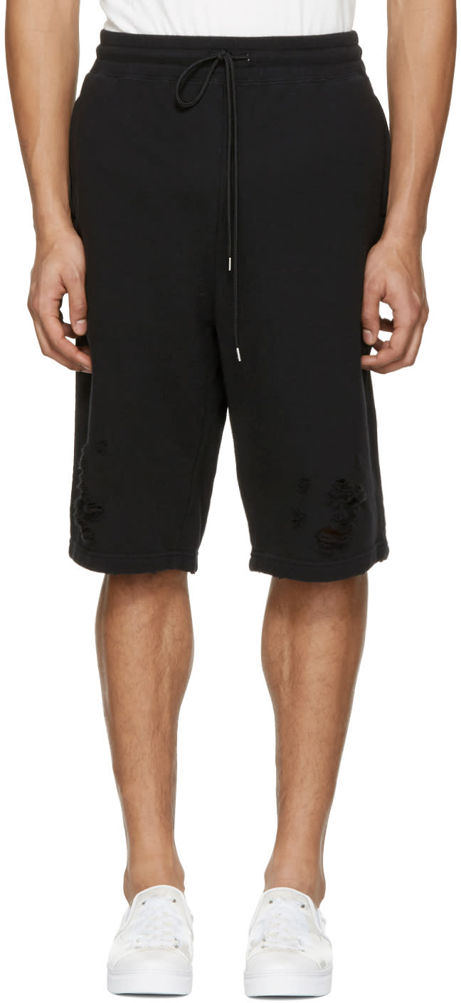 Miharayasuhiro Black Distressed Lounge Shorts