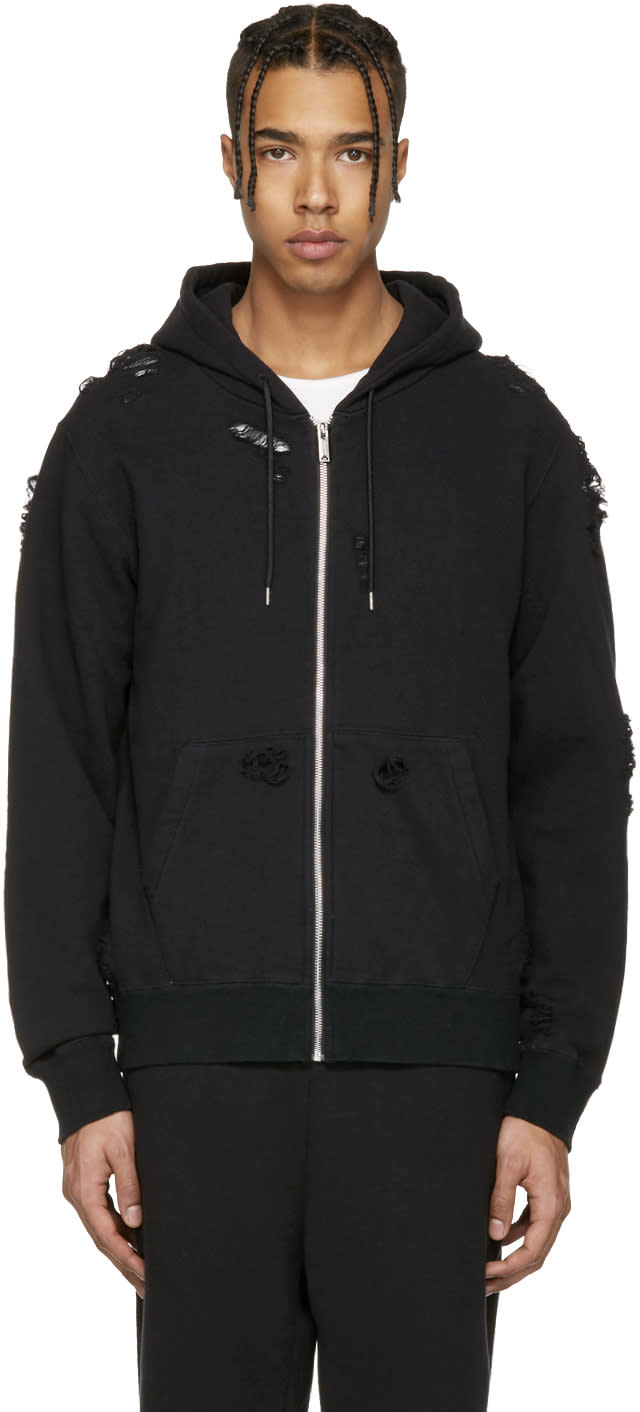 Miharayasuhiro Black Distressed Zip-up Hoodie