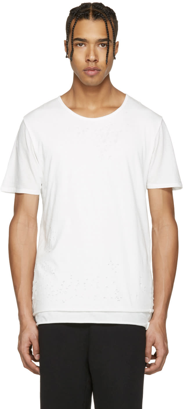 Miharayasuhiro White Distressed T-shirt