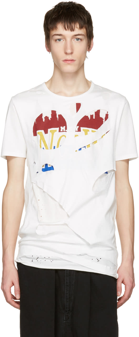 Miharayasuhiro White Massive Hole And Print T-shirt