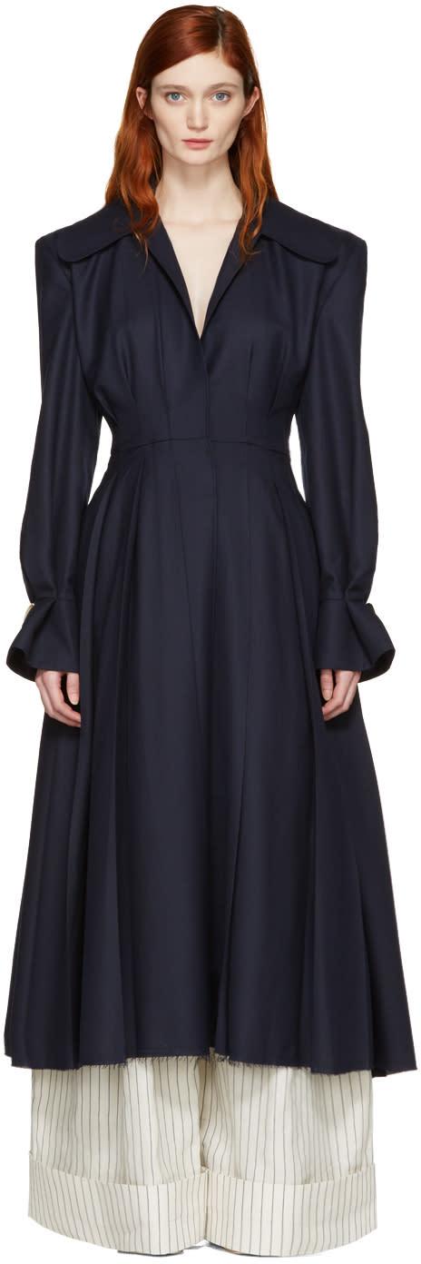 Jacquemus Navy le Manteau Plisse Coat