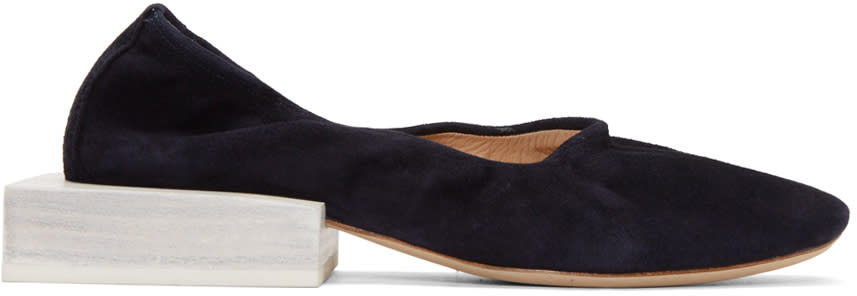 Jacquemus Navy Suede les Ballerines Flats