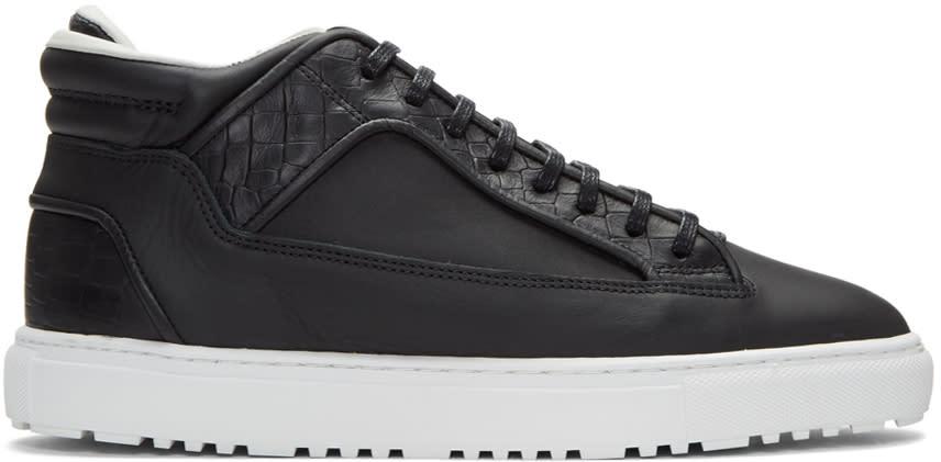 Etq Amsterdam Black Croc-embossed Mid 2 Sneakers