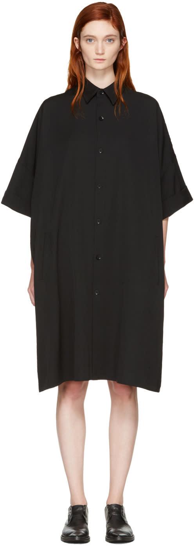 Yohji Yamamoto Black Mid-length Shirt Dress