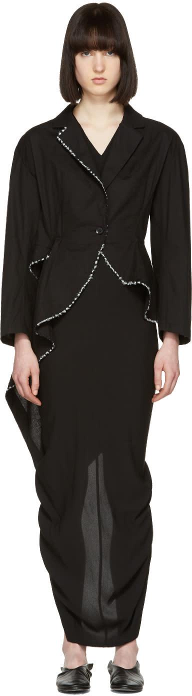 Yohji Yamamoto Black Stitched Tailcoat Blazer