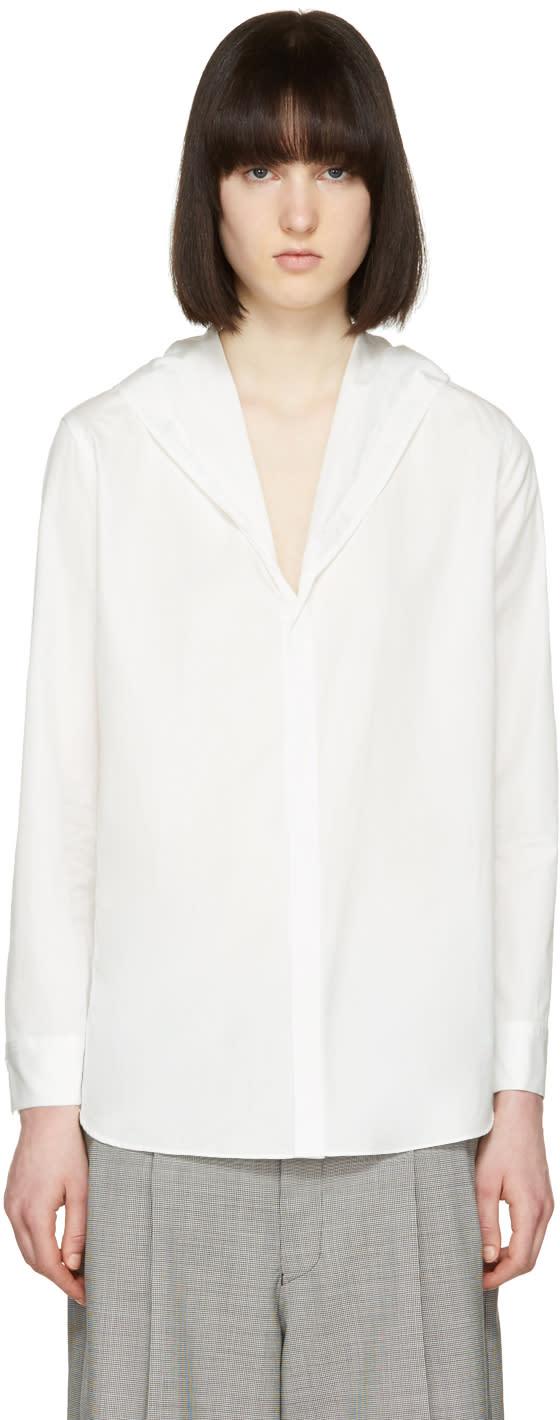 Yohji Yamamoto Off-white Hooded Poplin Shirt