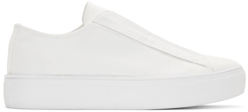 Yohji Yamamoto White Canvas Slip-on Sneakers