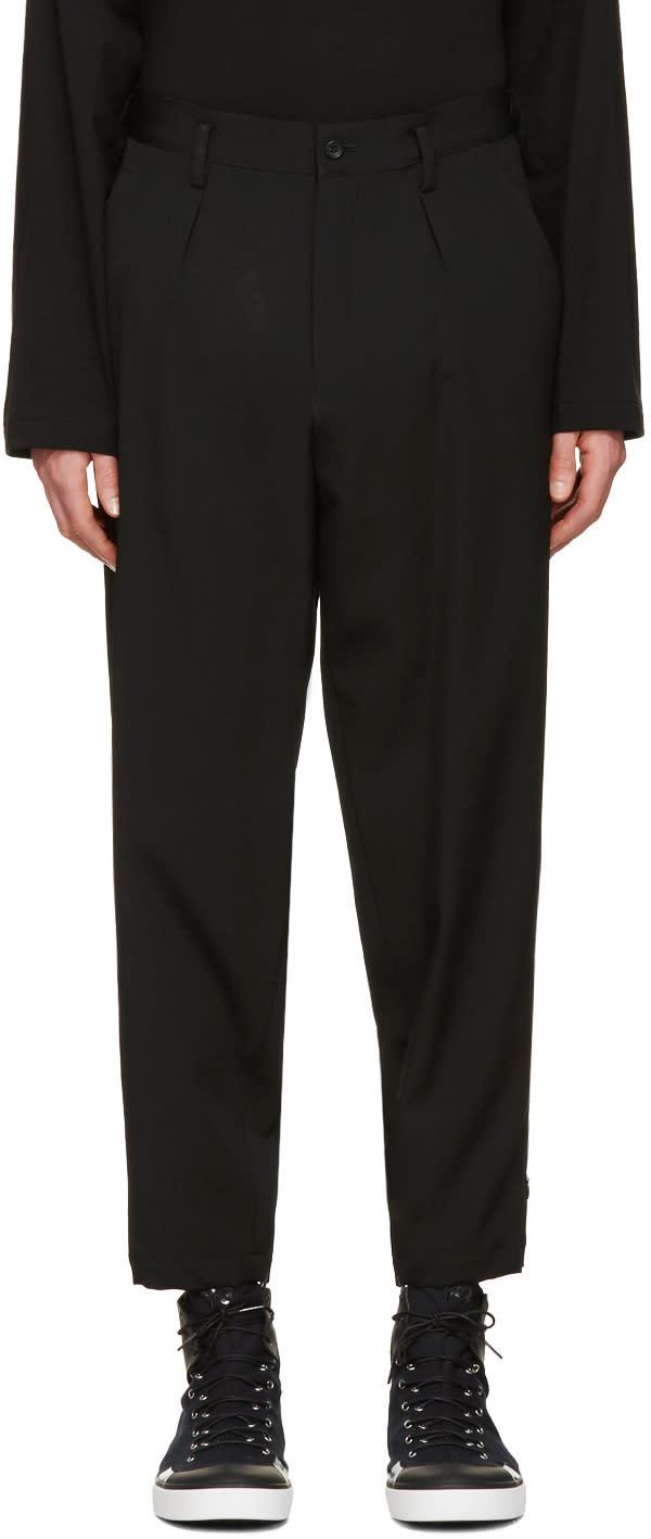 Yohji Yamamoto Black Slim Fit Gabardine Trousers
