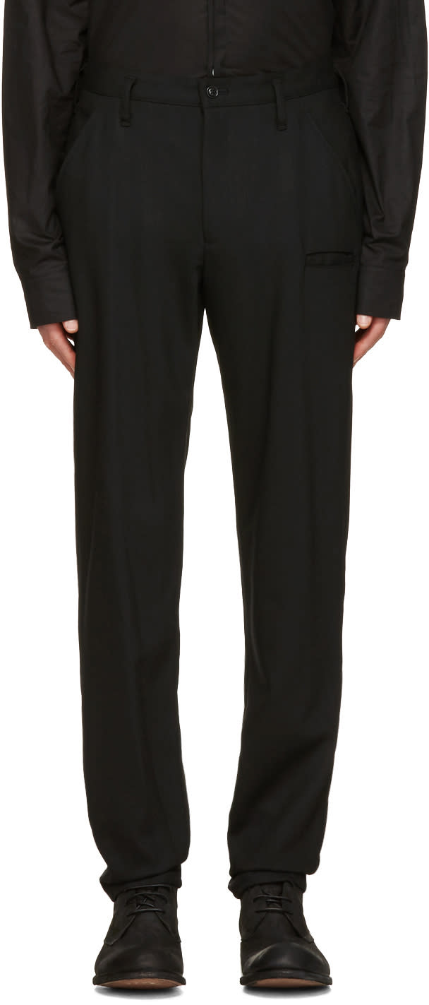 Yohji Yamamoto Black Wool Slim Trousers
