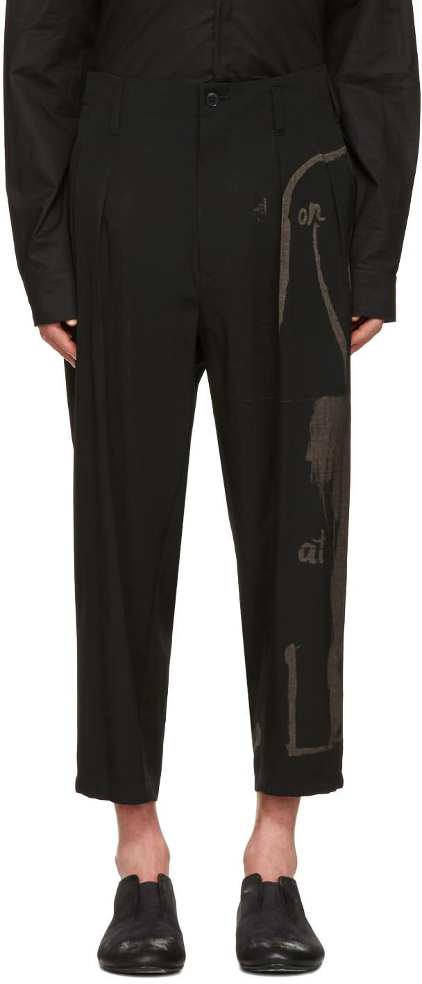 Yohji Yamamoto Black Wide-leg Graphic Trousers