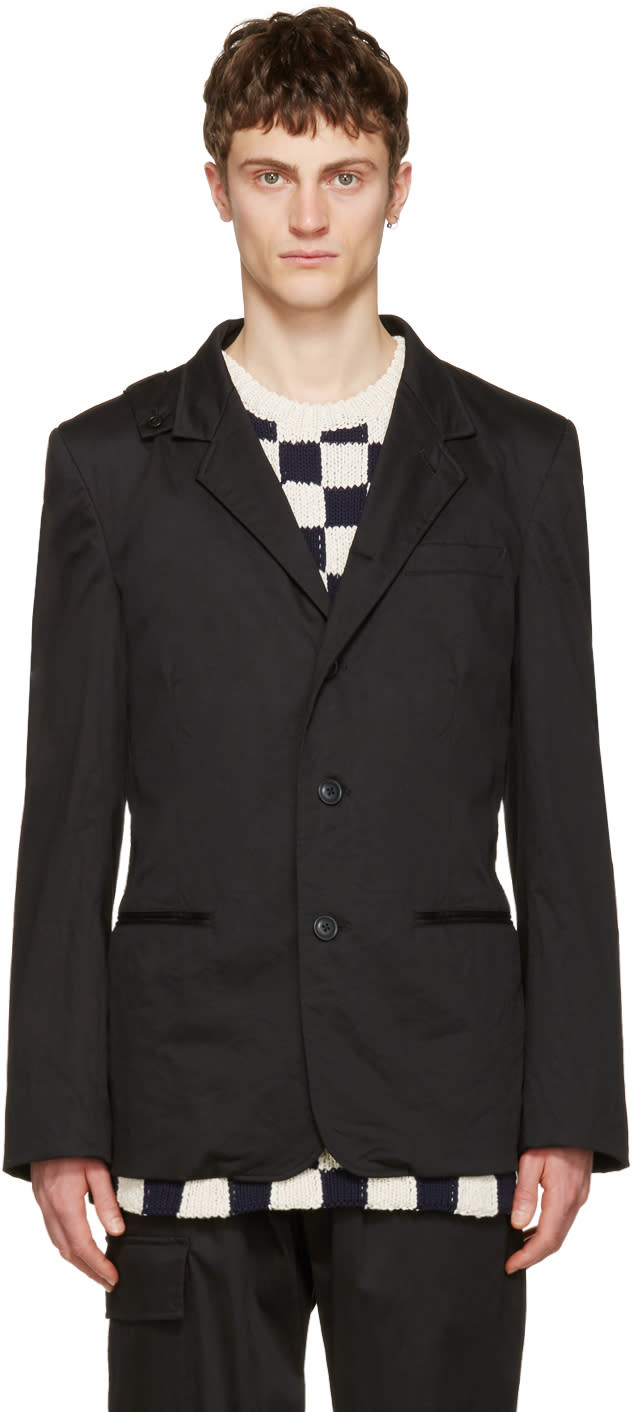 Yohji Yamamoto Black Slim Fit Hook Blazer