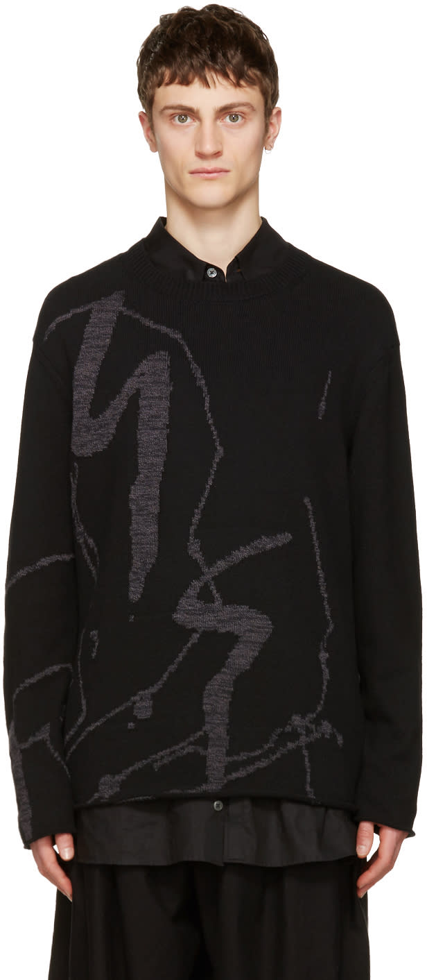 Yohji Yamamoto Black Logo Sweater