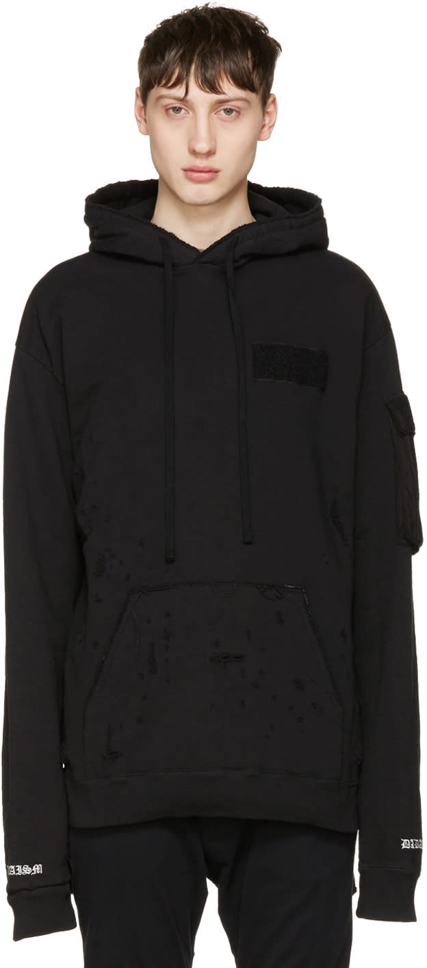 Christian Dada Black Damaged Hoodie