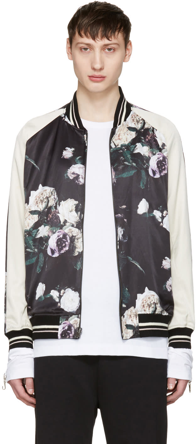Lad Musician Reversible Multicolor Floral Satin Bomber Jacket