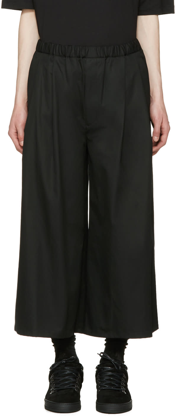 Lad Musician Black Tuck Wide Cropped Trousers