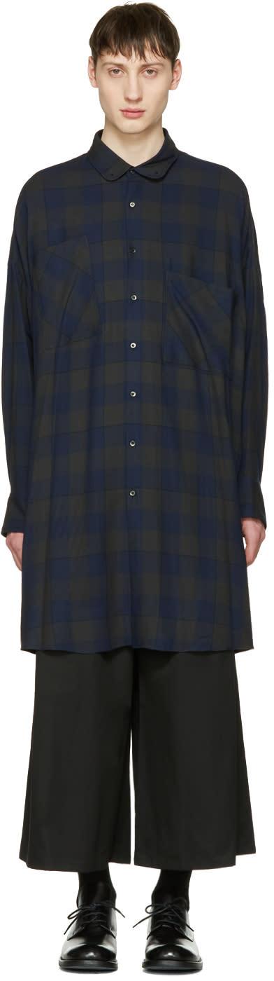 Lad Musician Navy Check Big Shirt