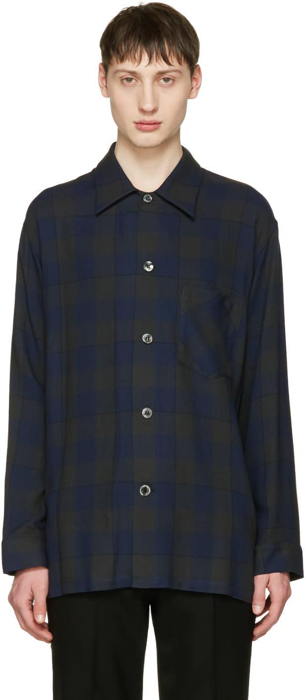 Lad Musician Navy Check Pyjama Shirt