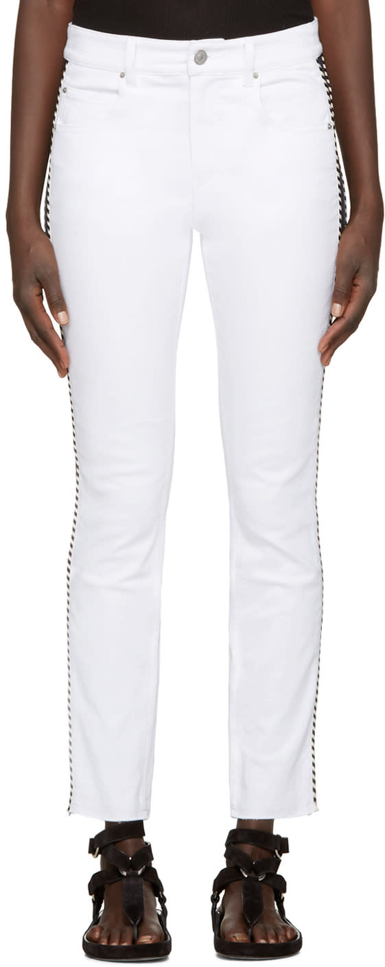Isabel Marant Etoile White Two-tone Haven Jeans