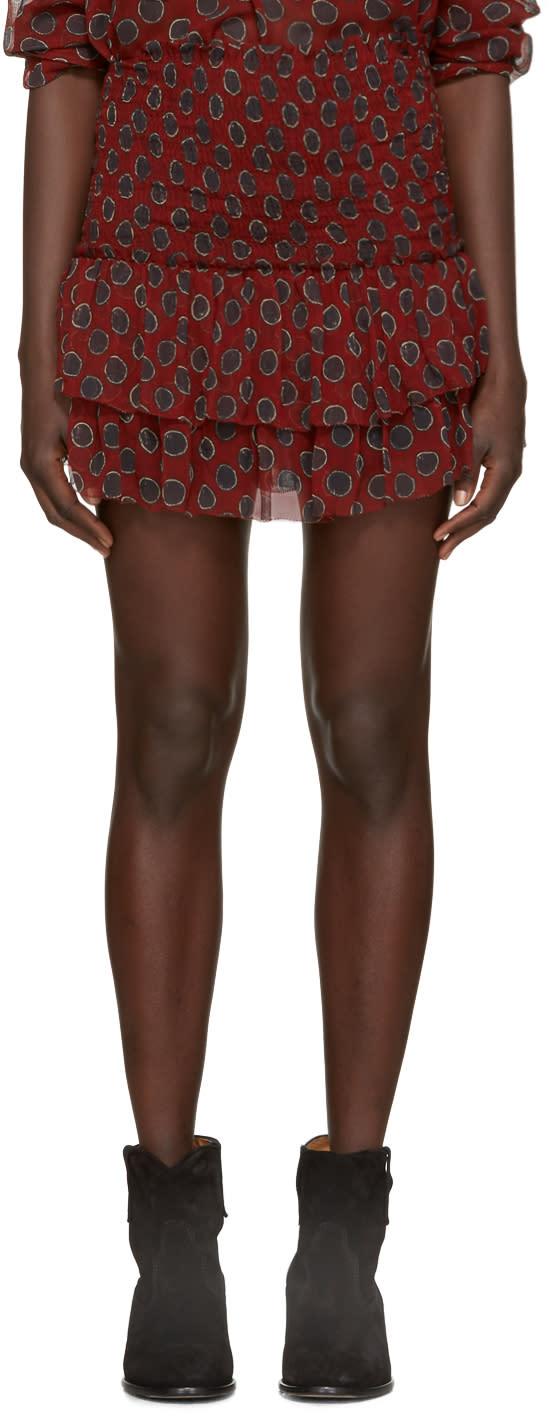 Isabel Marant Etoile Burgundy Brinley Miniskirt