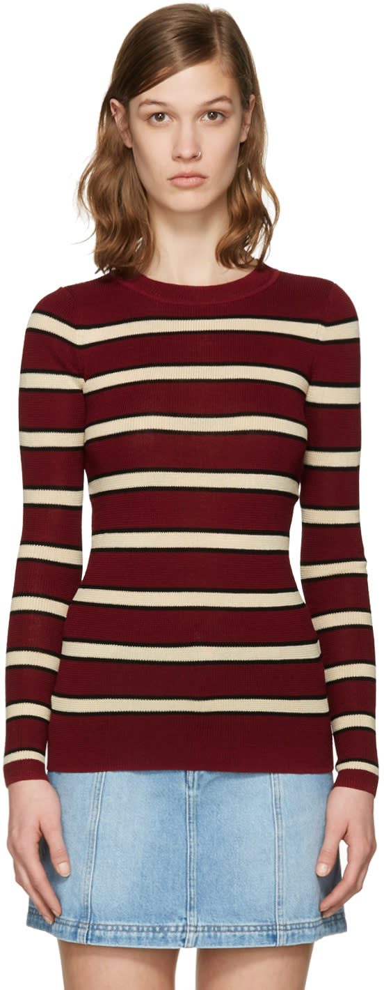 Isabel Marant Etoile Burgundy Striped Derring Pullover