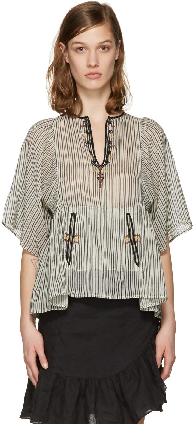 Isabel Marant Etoile Ecru Embroidered Stripe Joy Blouse