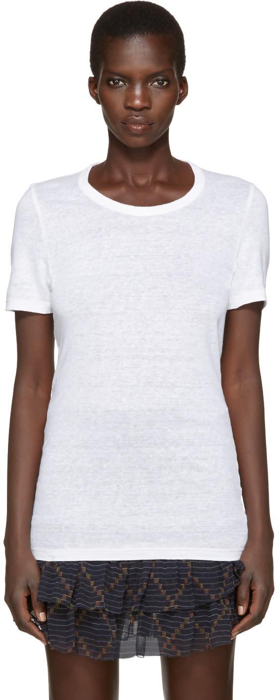 Isabel Marant Etoile White Linen Kiliann T-shirt