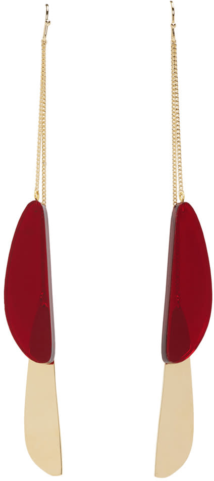 Isabel Marant Gold and Red Double Pendant Earrings