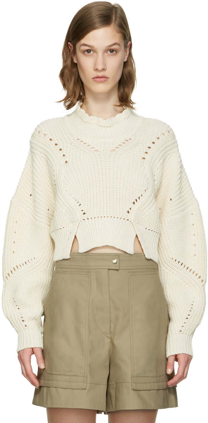 Isabel Marant Ecru Cropped Gane Sweater