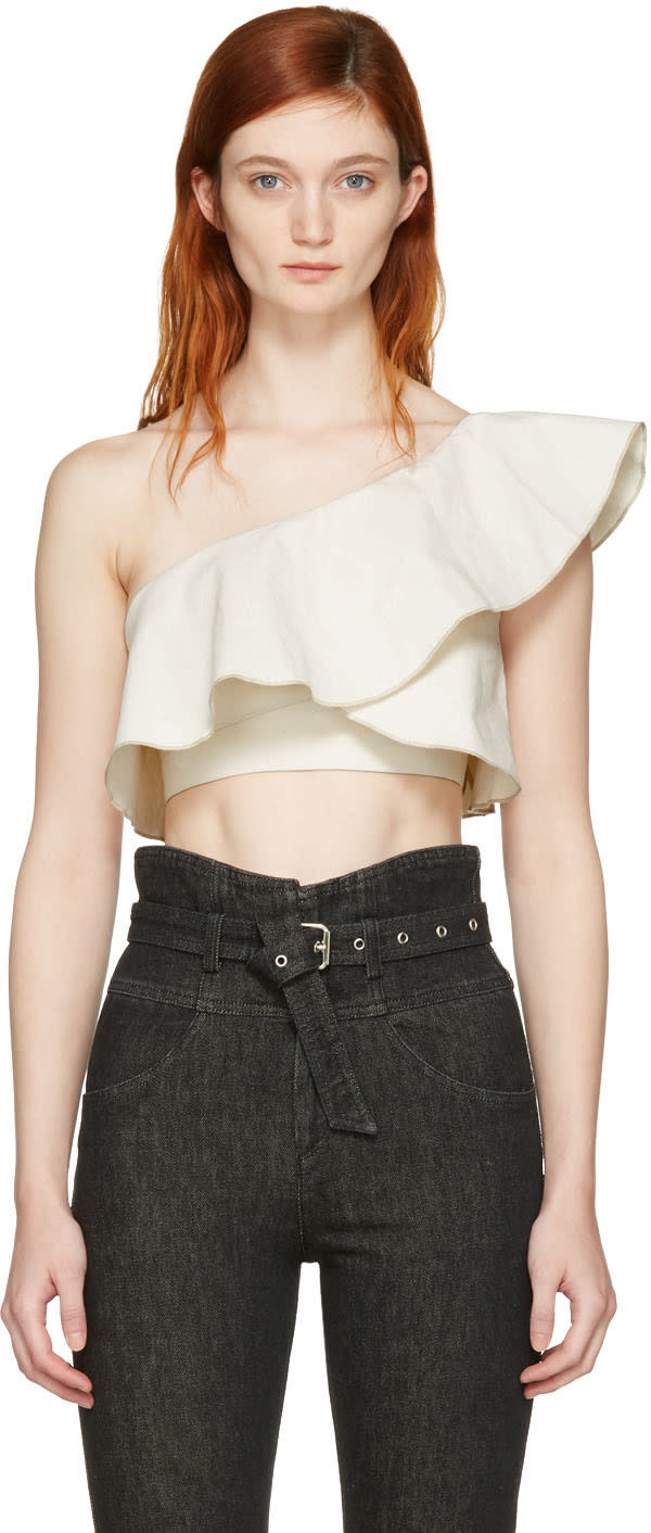 Isabel Marant Ecru Hayo Single-shoulder Crop Top