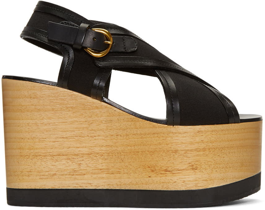 Isabel Marant Black Zlova Wedge Sandals