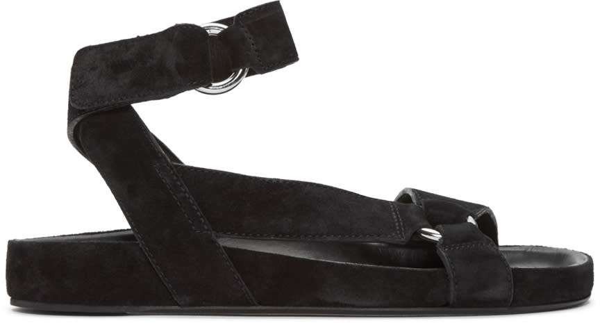 Isabel Marant Black Suede Loatis Easy Chic Sandals
