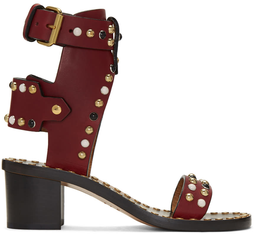 Isabel Marant Burgundy Studded Jeaeryn Sandals