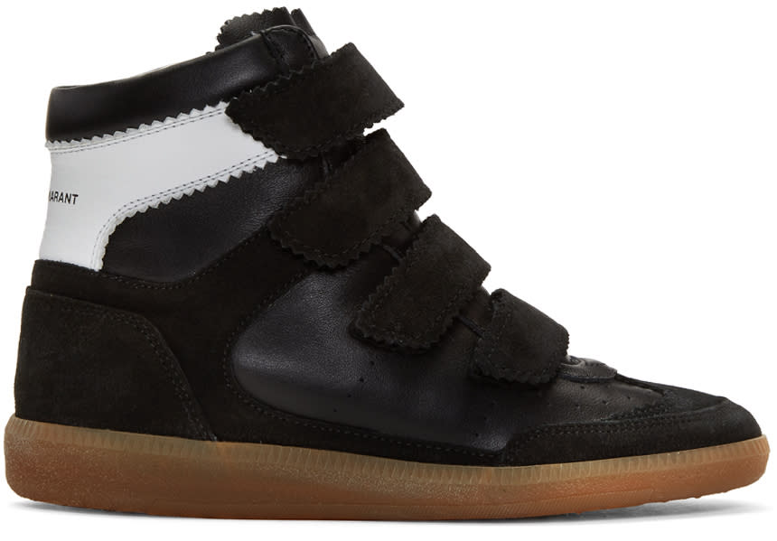Isabel Marant Black Suede Bilsy Wedge Sneakers