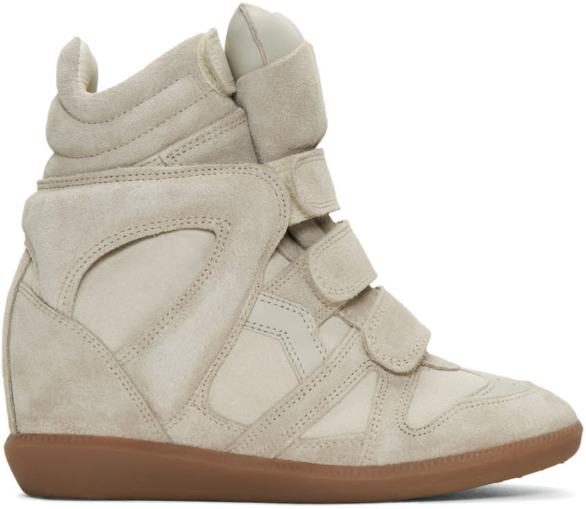 Isabel Marant Ecru Suede Beckett Wedge Sneakers