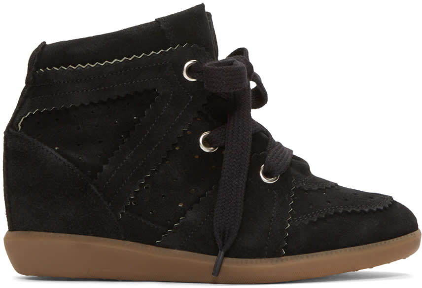 Image of Isabel Marant Black Bobby Wedge Sneakers