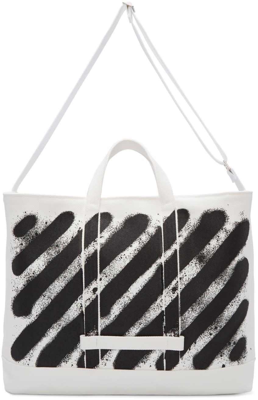 Off-white White Diagonal Spray Tote