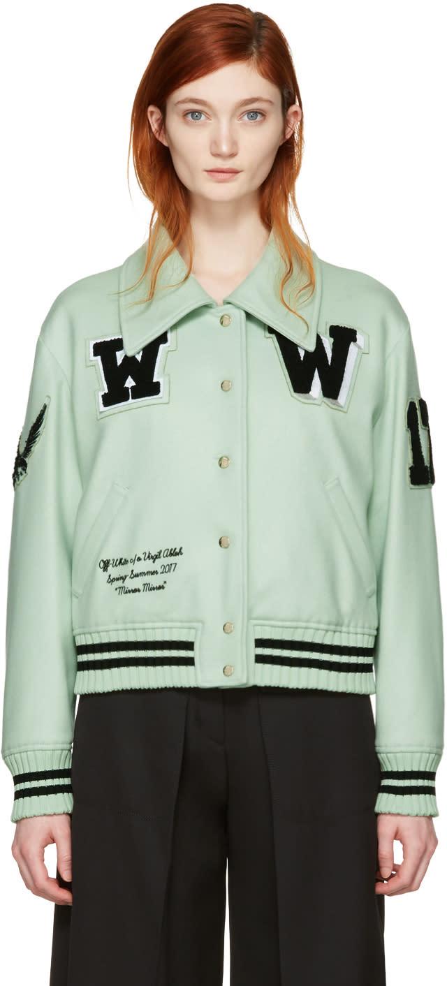 Off-white Green Varsity Bomber Jacket
