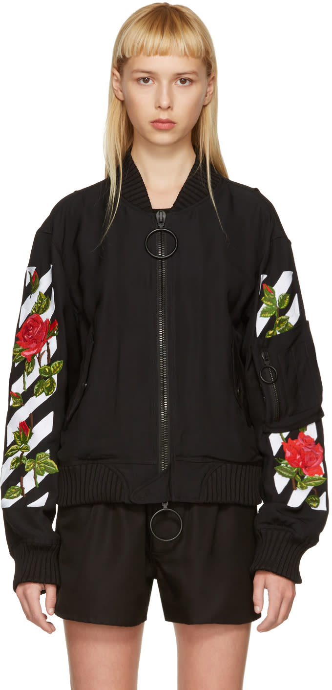 Off-white Black Diagonal Roses Bomber Jacket