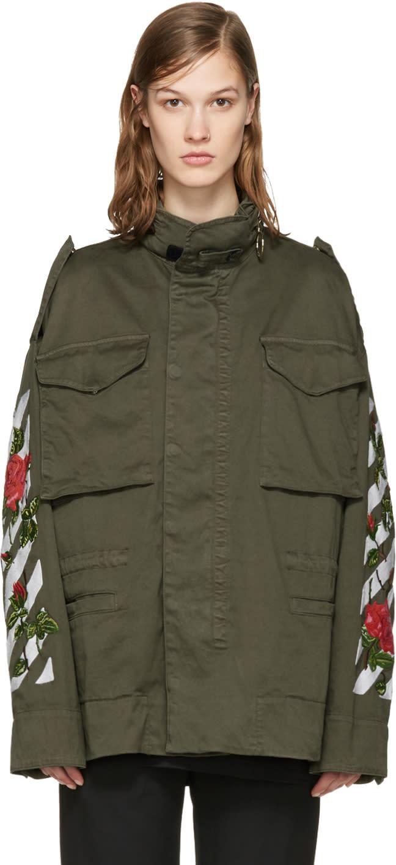 Off-white Green Diagonal Roses Jacket