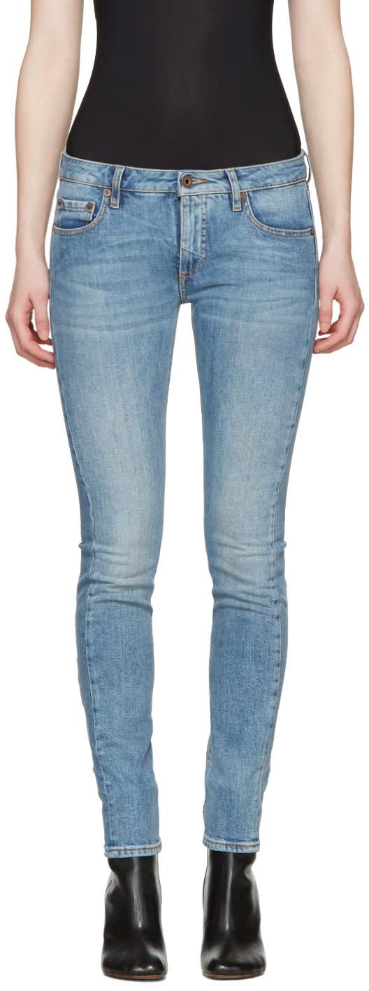 Off-white Blue Diagonal Roses Skinny Jeans